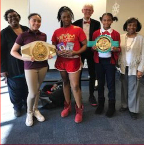 "<p style=""text-align:center;"">Hosted ""Learning Partner"" Mentoring Program Sessions at McCullough Academy for Girls - (January, February, March 2018) ... Each session mentees and mentors received new books, items for incentives as well ad literacy related materials. Highlighting the February discussion of the biography of ""Muhammad Ali ... the Greatest"" by Tanya Savory ... the McCullough girls were treated with a special appearance of ""Merciless Mary McGee"" ... championship lady boxer from Gary, IN; Mr. George Rogge, Manager.</p>"